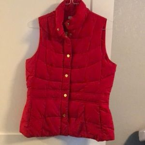 Red Puffer Vest w/ Gold Detail